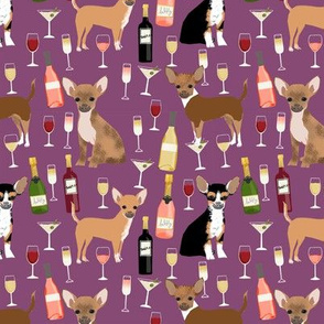 Chihuahua wine champagne cocktails cute dog breed fabric pattern merlot
