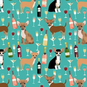 Chihuahua wine champagne cocktails cute dog breed fabric pattern teal