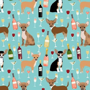 Chihuahua wine champagne cocktails cute dog breed fabric pattern light blue
