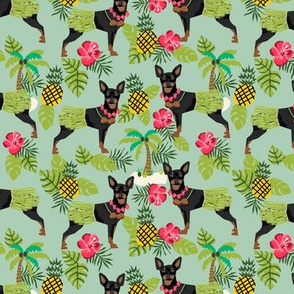 Miniature Doberman Pinscher Hawaiian tropical hula dog fabric green