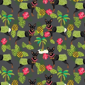 Miniature Doberman Pinscher Hawaiian tropical hula dog fabric dark