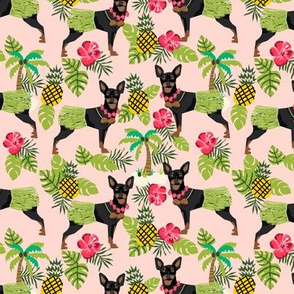 Miniature Doberman Pinscher Hawaiian tropical hula dog fabric blush