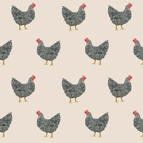 Plymouth Rock chicken breed farm sanctuary fabric pattern beige
