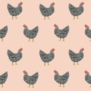 Plymouth Rock chicken breed farm sanctuary fabric pattern blush