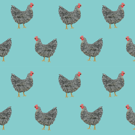 Plymouth Rock chicken breed farm sanctuary fabric pattern blue fabric by petfriendly on Spoonflower - custom fabric