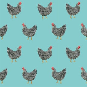 Plymouth Rock chicken breed farm sanctuary fabric pattern blue
