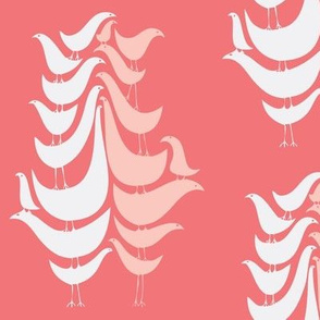 Pink Cooky Birds on Faded red