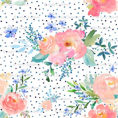 "8"" Floral Sweet Pastel / Variation 2 / Shibori Blue Polka Dots"