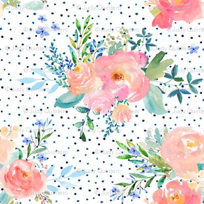 "8"" Floral Sweet Pastel / Variation 3 / Shibori Blue Polka Dots"