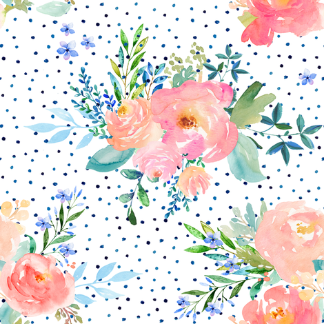 "8"" Floral Sweet Pastel / Variation 3 / Shibori Blue Polka Dots fabric by shopcabin on Spoonflower - custom fabric"