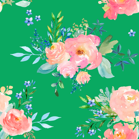 "8"" Floral Sweet Pastel / Green fabric by shopcabin on Spoonflower - custom fabric"