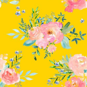 """8"""" Floral Sweet Pastel / Bright Yellow"""