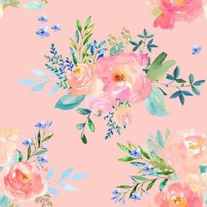"""8"""" Floral Sweet Pastel / Dark Pink"""