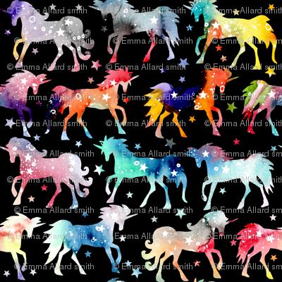 "Rainbow galaxy unicorns - 1.5"" scale - black background"