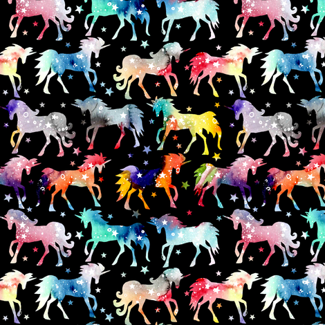 """Rainbow galaxy unicorns - 1.5"""" scale - black background fabric by emeryallardsmith on Spoonflower - custom fabric"""