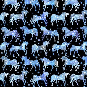 "Blue galaxy unicorns - 1.5"" scale - black background"