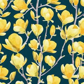 Yellow Magnolia Spring Bloom 1 // navy blue background