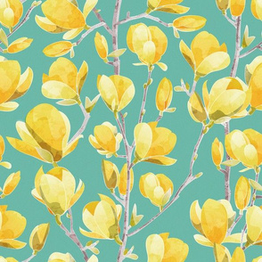 Yellow Magnolia Spring Bloom 2 // mint green background