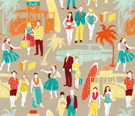 Hawaii elegance in action 3 // beije background fabric by selmacardoso on Spoonflower - custom fabric