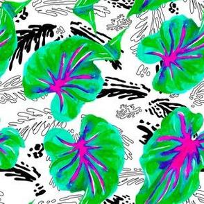 "6"" Santa Monica Drive Bright - Black & White Leaves"