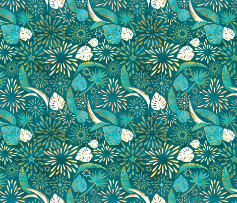 Tropical_Fireworks 2 // turquoise green golden lines fabric by selmacardoso on Spoonflower - custom fabric
