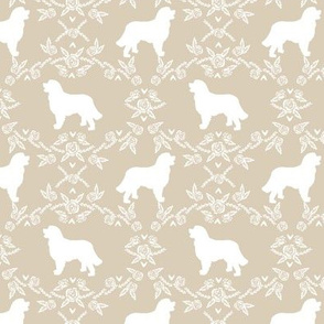 Bernese Mountain Dog floral silhouette sand