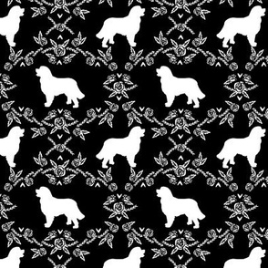 Bernese Mountain Dog floral silhouette black and white