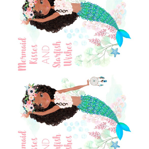 "56""x72"" / 4 to 1 Yard of Minky / Chloe the Mermaid / Mermaid Kisses Quote"