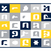 Hebrew Alphabet Quilt Top - Blue and Gray