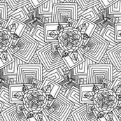 Deco Geometric Floral Print