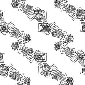 Deco Geometric Floral Diagonal Print