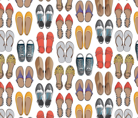 Hard choice // shoes on white background fabric by selmacardoso on Spoonflower - custom fabric