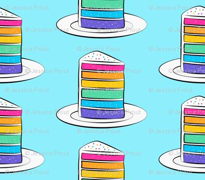 rainbow cake on blue