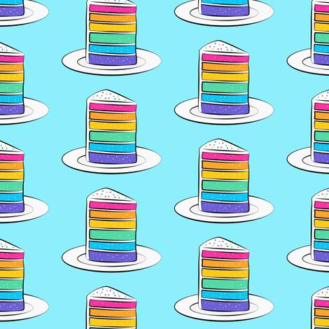 rainbow cake on blue fabric by littlearrowdesign on Spoonflower - custom fabric
