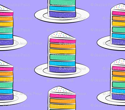 rainbow cake on purple