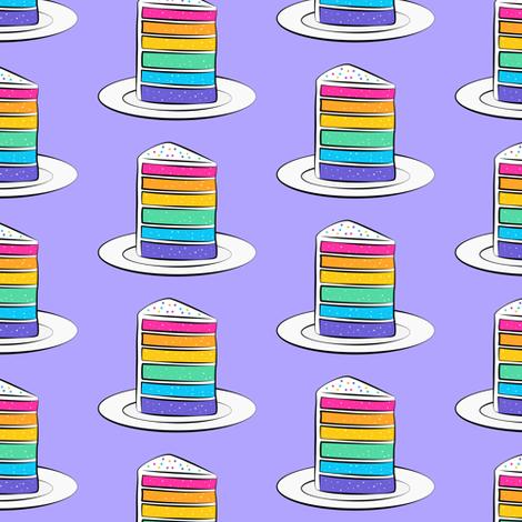 rainbow cake on purple fabric by littlearrowdesign on Spoonflower - custom fabric