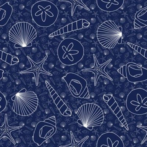 Shells on Navy Blue