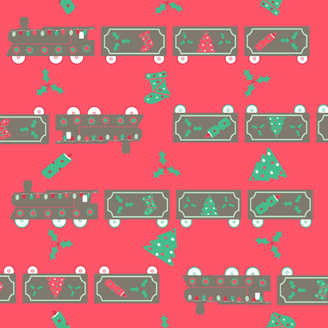 Sage christmas train red fabric karwilbedesigns for Train print fabric