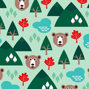 Canada grizzly bear and maple leaf woodland theme green boys and gender neutral