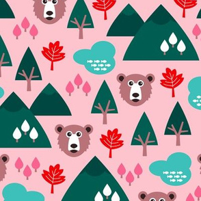 Canada grizzly bear and maple leaf woodland theme green pink girls