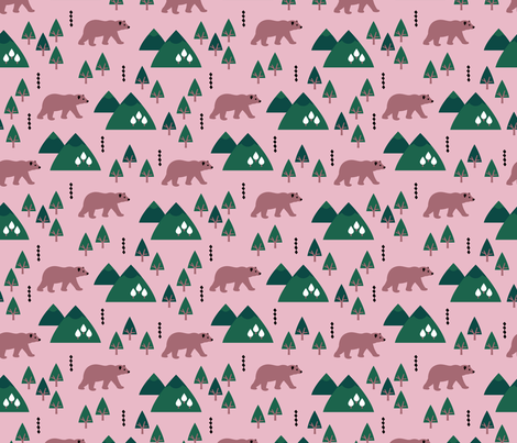 Parks and woodland canada grizzly bear forest mountains pink fabric by littlesmilemakers on Spoonflower - custom fabric