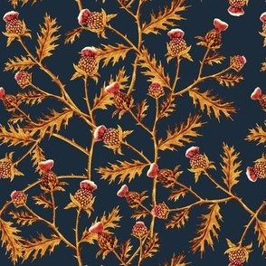 Thistles, Golden Orange on Dark Denim