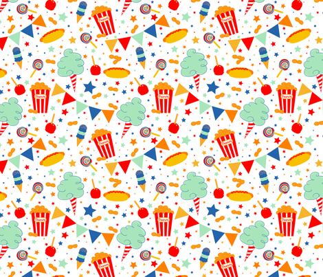 Yummy_Circus_Treats-white fabric by beala_designs on Spoonflower - custom fabric