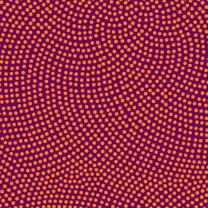 Fibonacci-flower polkadots - Indian orange on purple