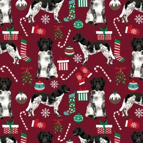 stabyhoun fabric -  christmas dog design dogs xmas fabric - ruby red
