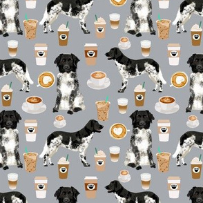 stabyhoun fabric coffee and dogs design coffee and dogs stabyhoun stabij design - grey