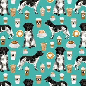 stabyhoun fabric coffee and dogs design coffee and dogs stabyhoun stabij design - turquoise