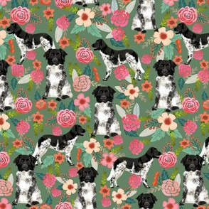 stabyhoun floral dog fabric florals and dogs design stabij design - green