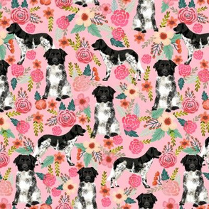 stabyhoun floral dog fabric florals and dogs design stabij design - pink