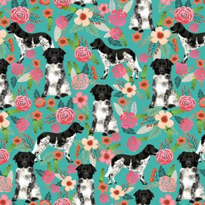 stabyhoun floral dog fabric florals and dogs design stabij design - turquoise